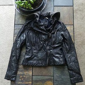 Free People Faux Leather Motorcycle Zip Jacket 2